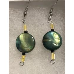 Earrings-Green disc bead...
